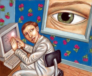 Eye Looking Over Person On Computer